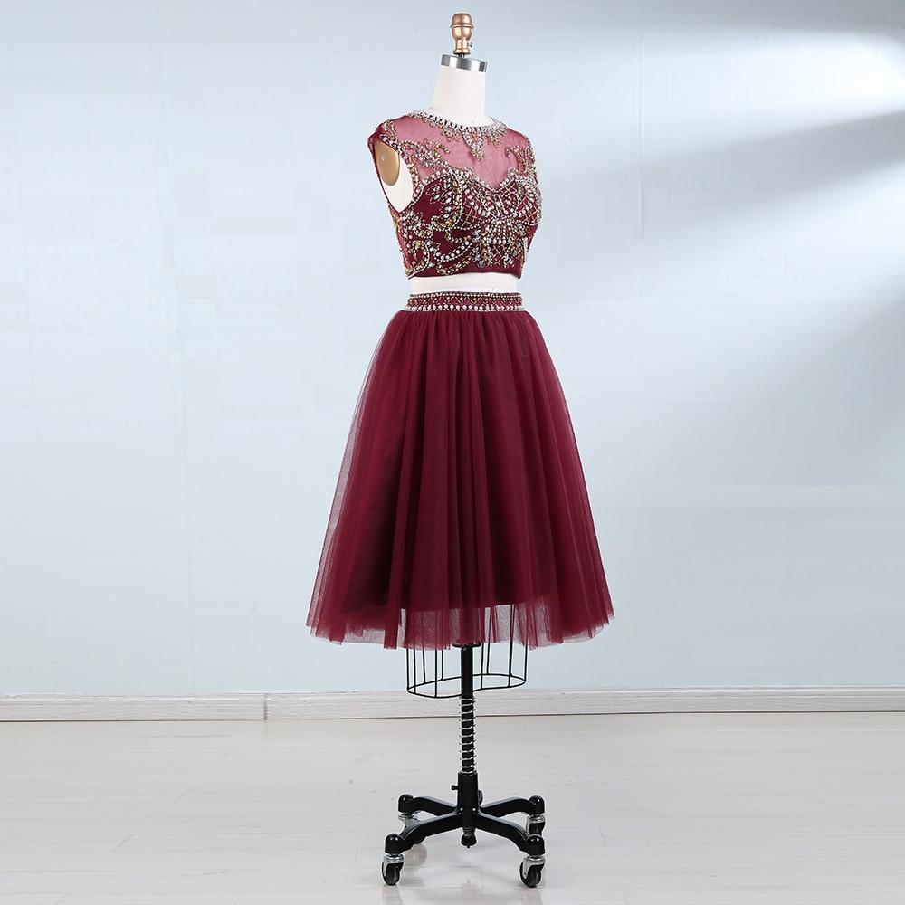 BeryLove İki Adet Scooped Kısa Mezuniyet Elbiseleri Boncuk İnciler - Özel Günler Için Elbise - Fotoğraf 3