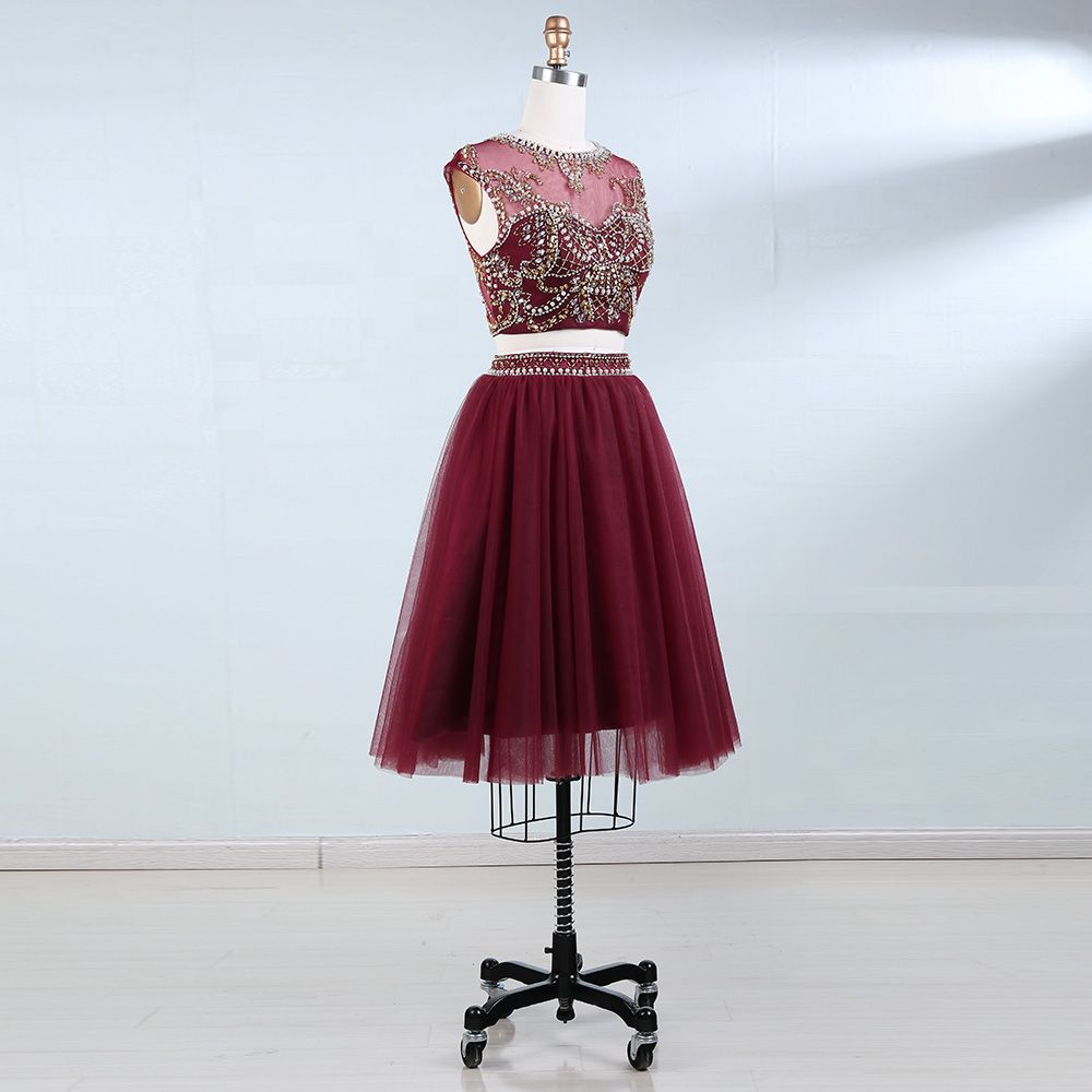 BeryLove Two Piece Skooped Short Homecoming Dresses Beading Pearls - Ерекше жағдай киімдері - фото 3