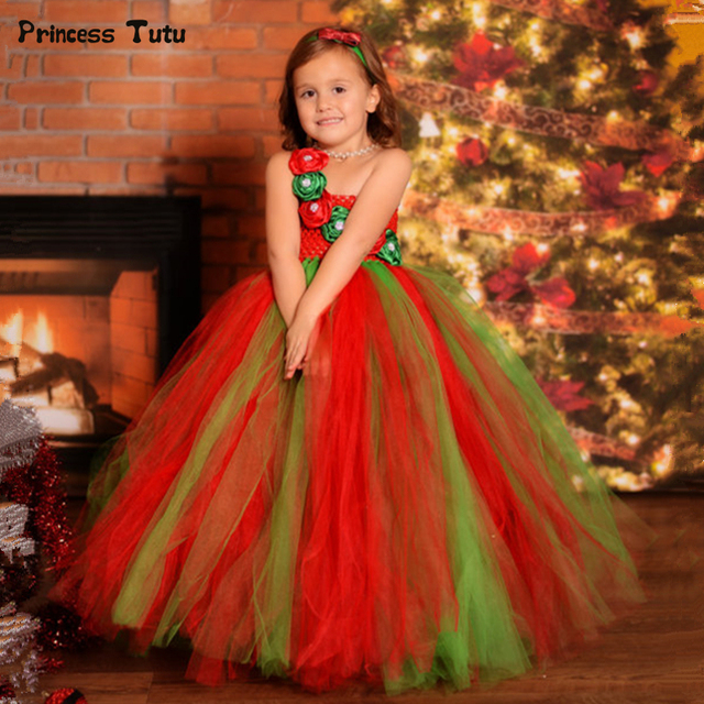 f79bc809f042 red green flower girls christmas tutu dress clothes children tulle dress  kids christmas costumes for girls