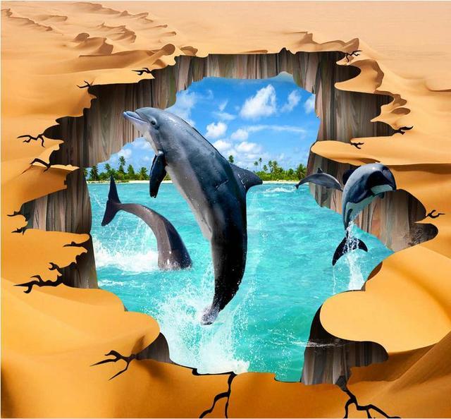 d suelo d fondos de pantalla para pared desierto custom grieta de delfines d wallpaper sala