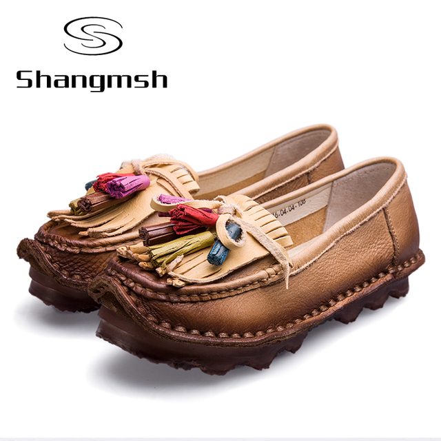 Full Grain Leather Creepers Flats Women's Shoes Luxury Brand Autumn Ladies Flats Soft Leather Tassel Pregnant Women Shoes