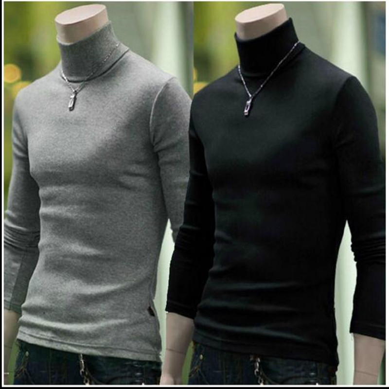 Pullover Sweater Turtlen Korean Men's Casual New Hot Solid Hedging Comfortable Simple