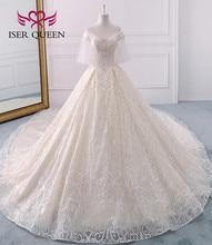 יוקרה באיכות גבוהה דובאי חתונת שמלת 2020 כדור שמלת ארוך רכבת התלקחות שרוול פניני רקמת חתונת שמלת הכלה שמלת WX0121