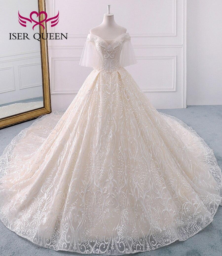 High Quality Luxury Dubai Wedding Dress 2019 Ball Gown Long Train Flare Sleeve Pearls Embroidry Wedding Gown Bride Dress WX0121