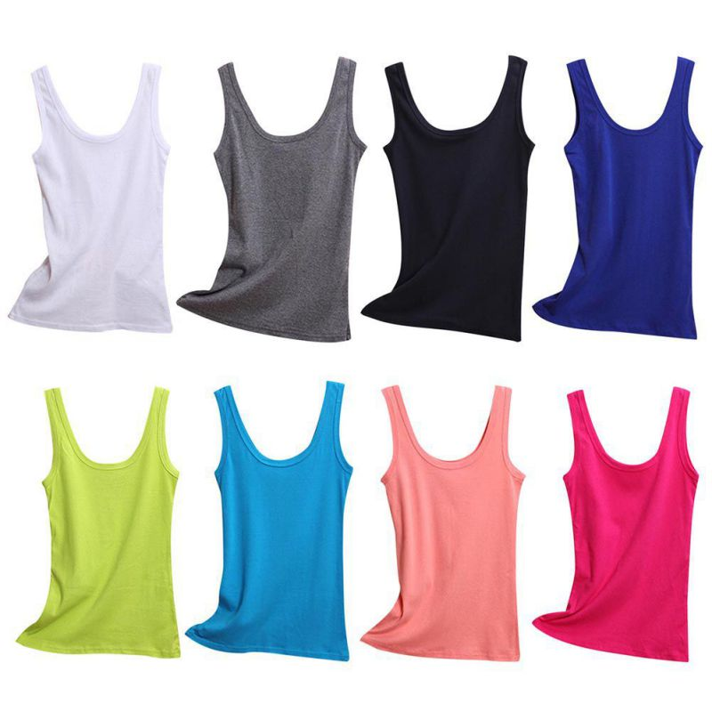 New Women Sexy Soft Cotton   Tank     Tops   Colors Solid Sleeveless U Croptops Camisole Basis Vest   Top   Cropped For Ladies Tees