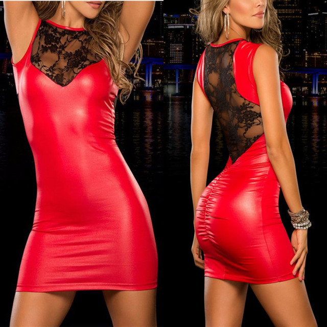 SEXY PU LEATHER NIGHGOWN (2 COLORS)