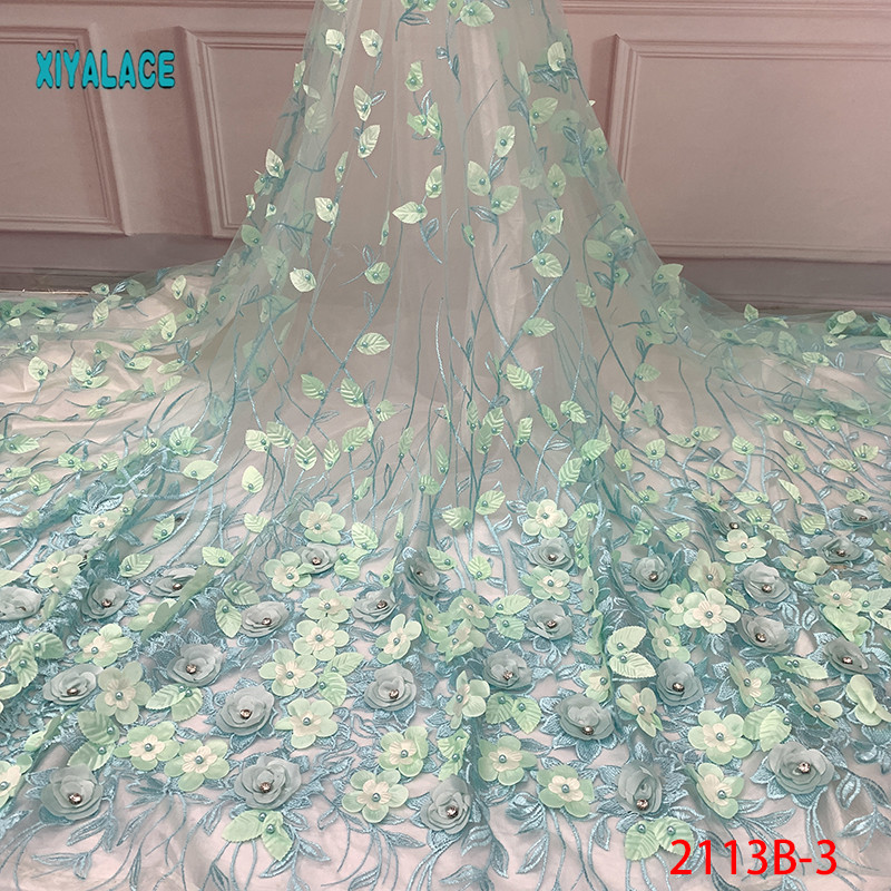 Nigerian 3D Flowers Lace Fabric 2019 High Quality African Net Lace Fabric Wedding French Tulle Lace Material For Dress YA2113B-3