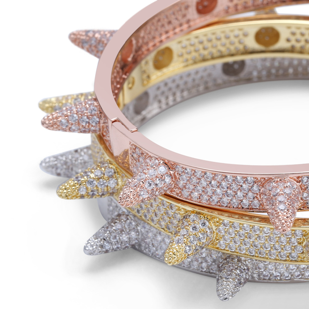 Image 2 - Luxury Iced Out Bling Cubic Zircon Hip Hop Rose Gold Silver Rivet Bracelets Spike Bangles  Gifts for Men Women-in Charm Bracelets from Jewelry & Accessories