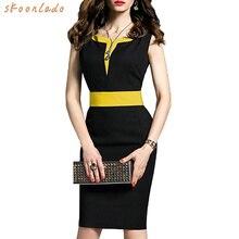 6febc4a583b4a6 2019 Fashion office lady jurk zwart werk jurk kleding zomer mouwloze vrouwen  bussiness stijl comfortabele slanke