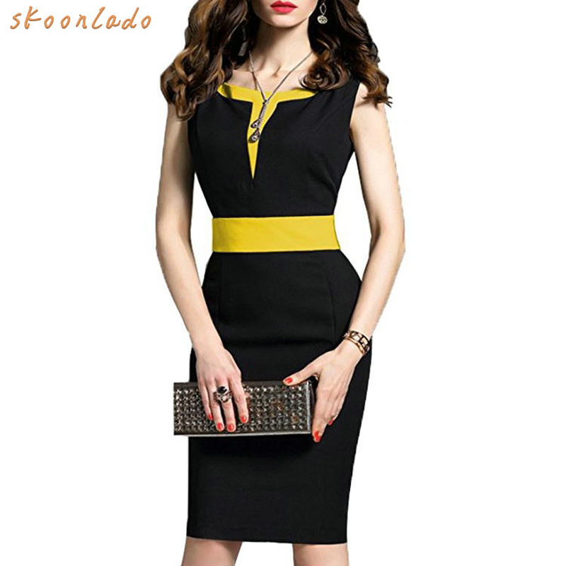 Office Ladies Solid Dresses Women Good Shape Slim Fashion Elegant Dress Mid Pencil High Waist Sleeveless Sleeve Female Clothes
