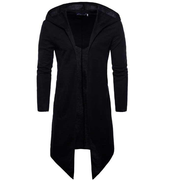 2019 Spring Hooded Cloak Long Cardigan Coat New Europe And America Long Windbreaker Cloak Coat Knitted Sweater Big Size 5XL