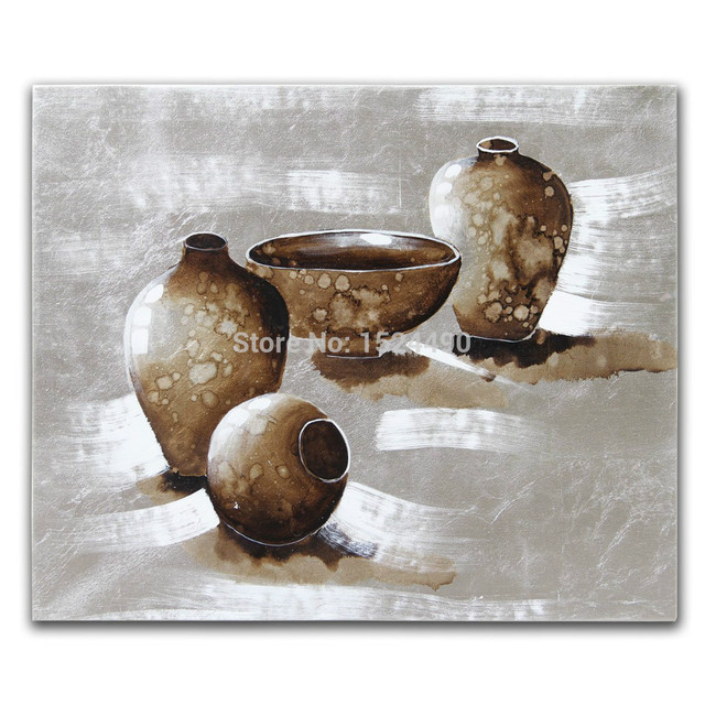 Hand Painted Still Life Oil Painting On Canvas Silver Gray Pottery Home Decoration Living Room Wall Pictures Free Shipping 50X60