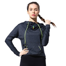 KARYZON Women Sports Jerseys Yoga Shirt Fitness Gym Sport Jacket Dry Fit Running Shirt Hooded Long Sleeve Top Body Shaper Shirts