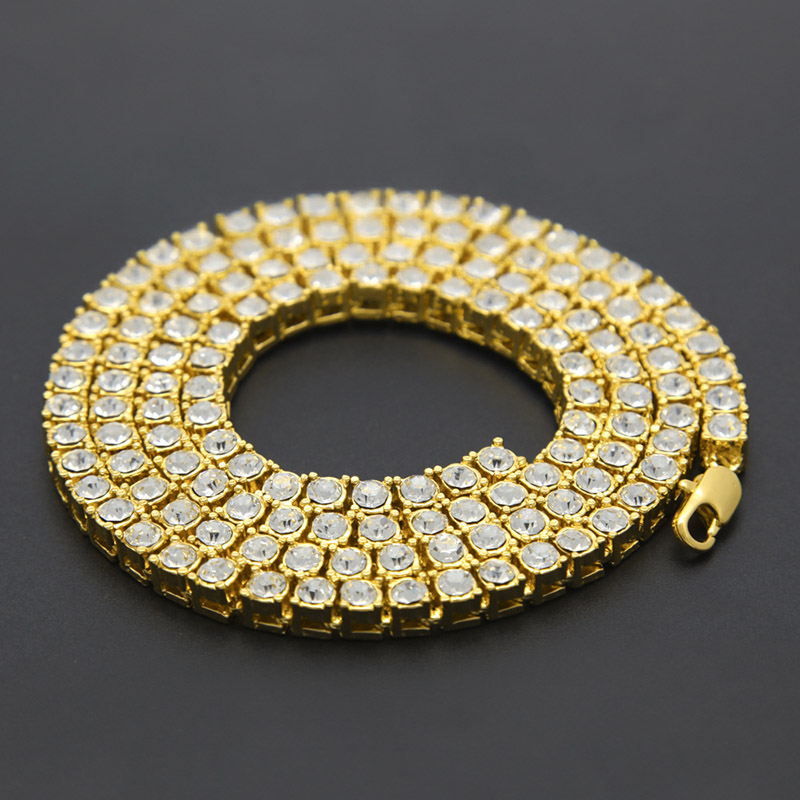 Learned Hip Hop Iced Out Chains Men's 1 Row Bling Bling Rhinestone Tennis Necklaces For Male Luxury Brand Gold Color Rapper Jewelry