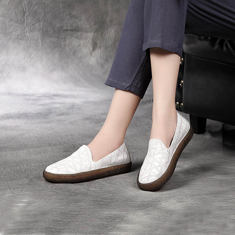 RASMEUP Genuine Leather Slip On Women Flat Shoes