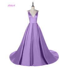 Lavender Ball Gown Princess Prom Dresses Spaghetti Straps V-Neck Satin Long Evening Dress Sexy Backless Teens Formal Party Gowns цена и фото