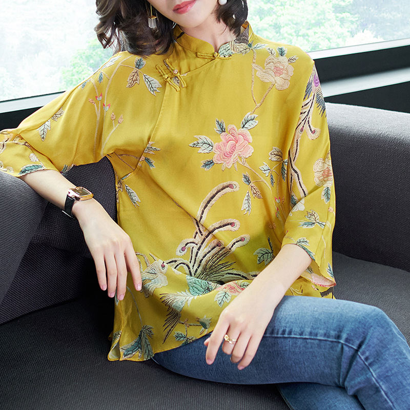 Spring Women s Boutique Temperament Cheongsam Style Stand Collar Plate Buttons Print Silk Shirt Blouses Yellow