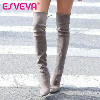 ESVEVA 2016 Western Style Winter Over The Knee Boots Square High Heel Women Boots Sexy Ladies