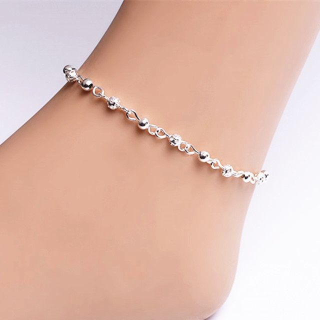 52013dc85 Fashion Exquisite Silver Color Ankles Woman Small Bead Hollow Balls Ankle  Bracelet For Women Beach Foot Accessories Cheap Price