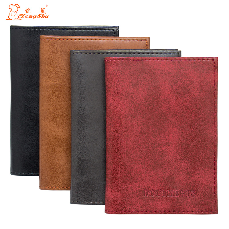 Russian red Color mixing Genuine Leather Auto Driver License Bag for Car Driving Documents Card Credit Holder