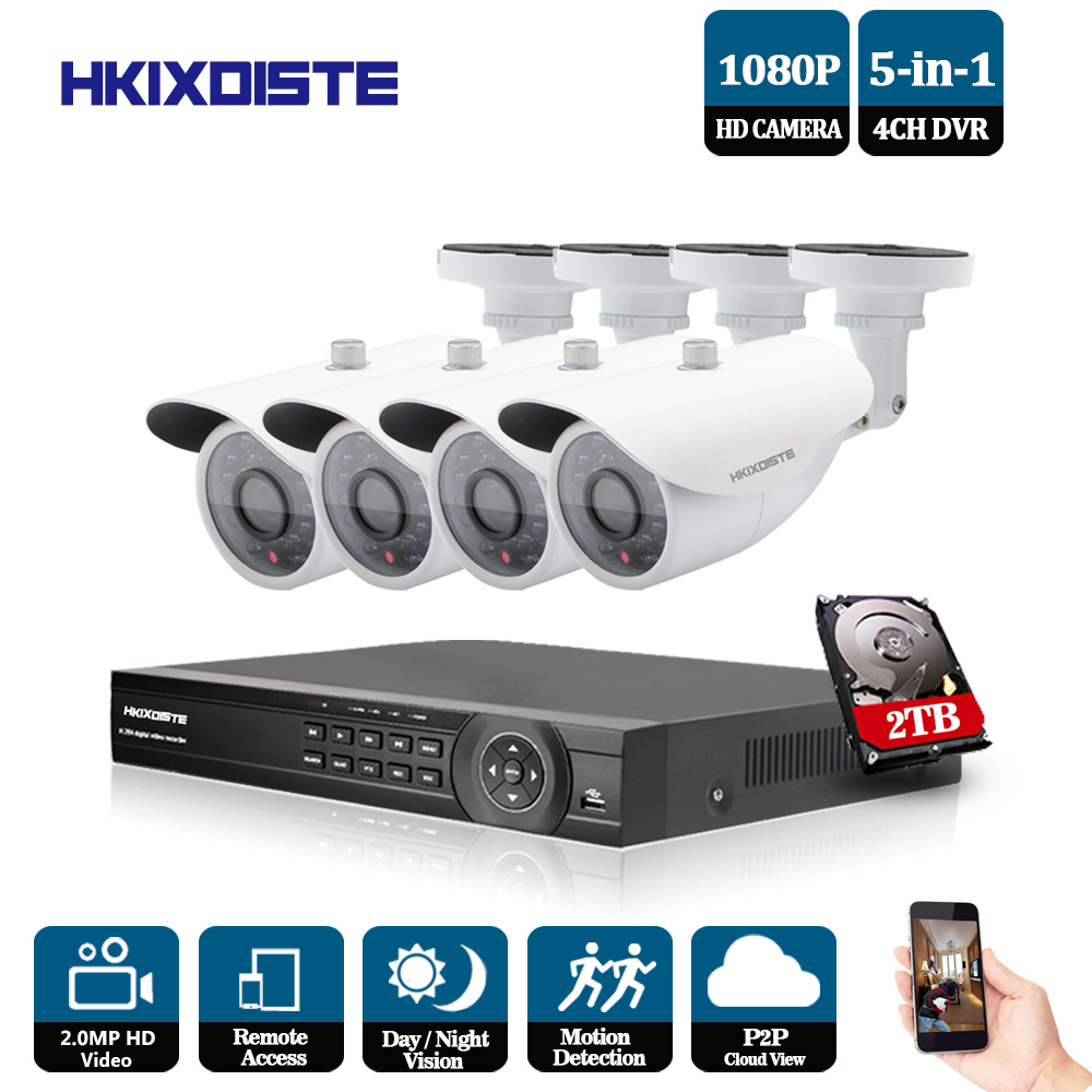 1080N HDMI DVR 2MP 1080P HD Outdoor Home Security Camera System 4CH CCTV Video Surveillance DVR Kit AHD Camera Set night vision ahd 24ch 1080n hdmi dvr set security camera system 24pcs ahd 720p 1800tvl 3 ir outdoor night vision home surveillance camera