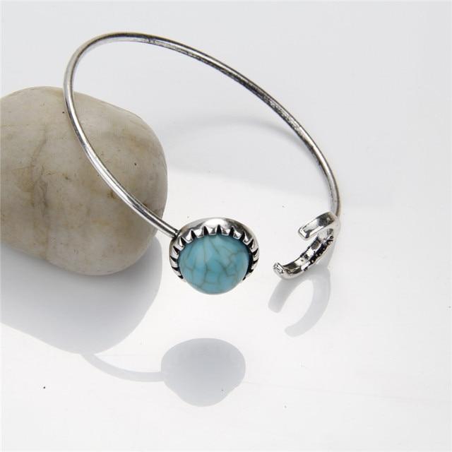 New Fashion Moon Open Charm Bracelet Good Natural Stone Bracelets Bangle For Women Men Friendship