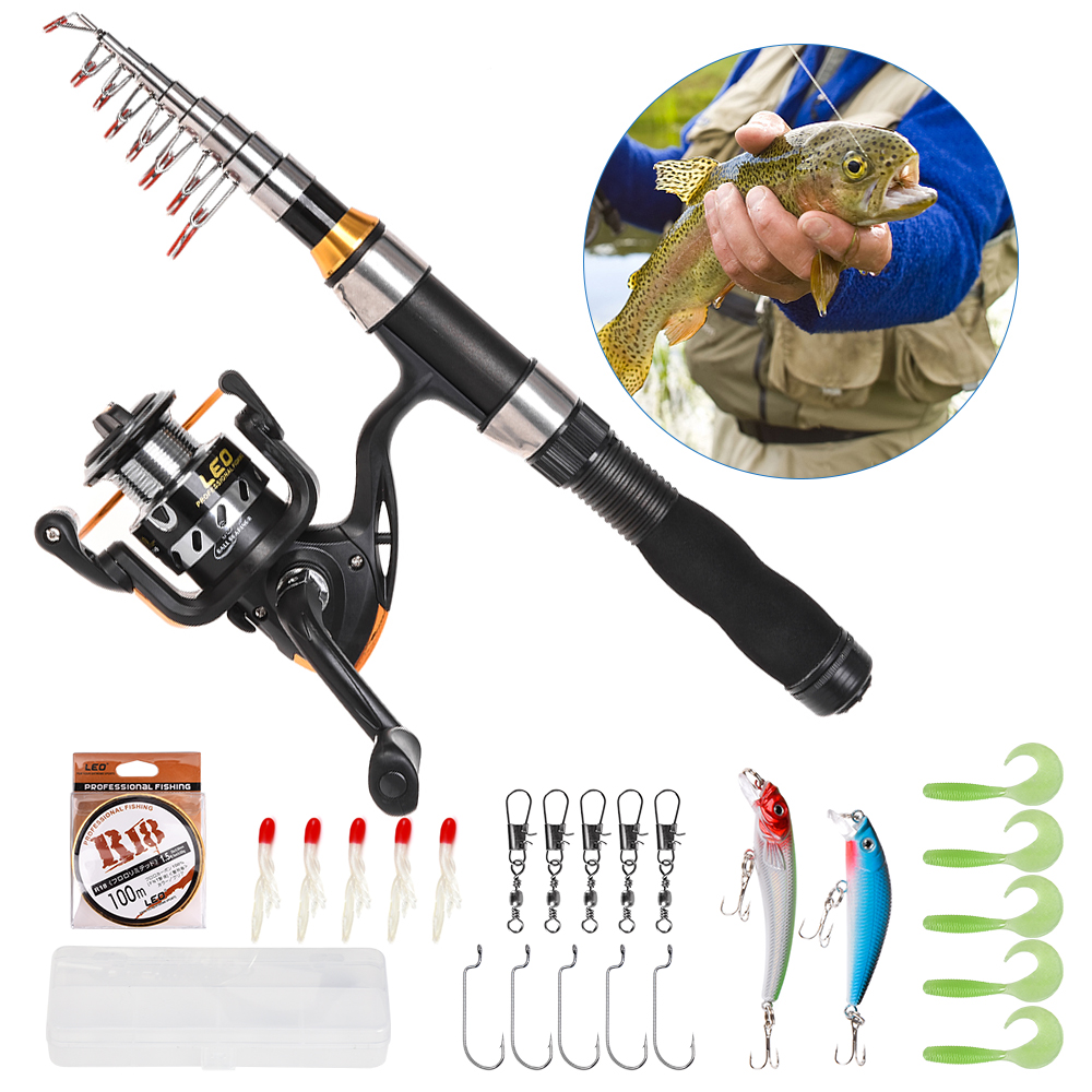 Telescopic Fishing Rod Pole Spinning Reel Set Fishing Line Lures Hooks Barrel Swivels Portable Fishing Rod and Reel Combo(China)