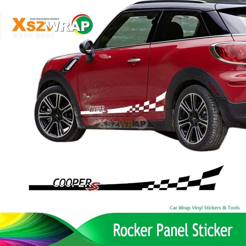 Pair For Mini Cooper Checkered Flag Side Stripes Vinyl Body Decal - Vinyl graphics for a carfull color car vinyl graphic checkered flag wrap