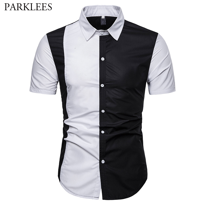 Classic Black White Patchwork Shirt Men 2019 Summer New Short Sleeve Mens Shirts Business Casual Dress Shirt Male Camisa Hombre