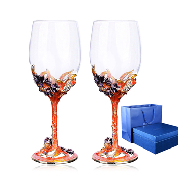 Exquisite carved flower crystal glass wine cup Beautiful wine glass goblet home decoration cup