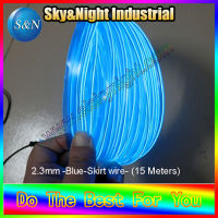 High quality and ultra brightness 15m 2.3mm EL wire with welt/skirt wire/el cable/el products (one of tens color Blue)