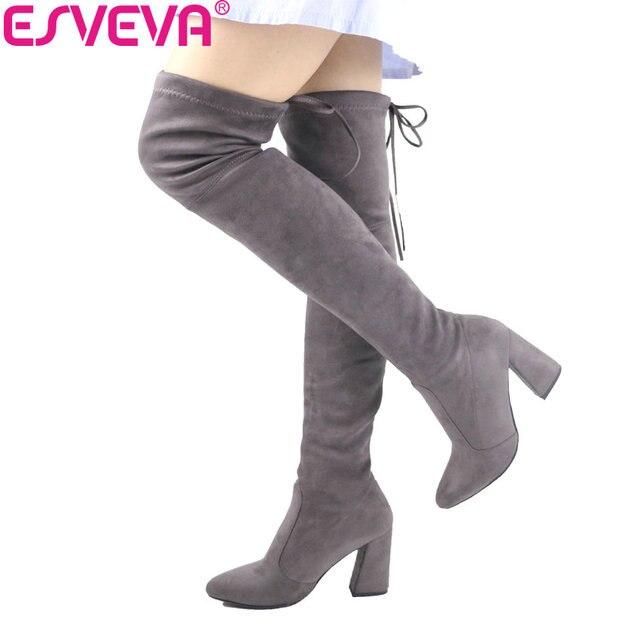 Esveva/2017 г. Для женщин Сапоги и ботинки для девочек выше колена из флока Сапоги и ботинки для девочек женские ботинки с круглым носком женские вечерние Западной стрейч Ткань Сапоги и ботинки для девочек большие размеры 34–43
