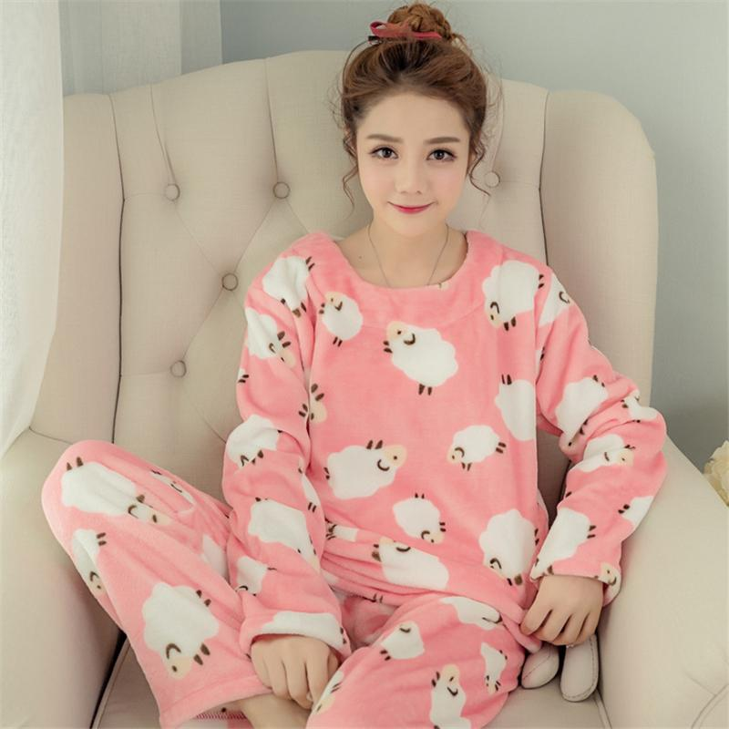 Women Pyjamas Sets Coral Velvet Suit Flannel Cartoon Bear Animal Pants  Winter Thick Warm Soft Cute Female Sleepwear Pajamas-in Pajama Sets from  Underwear ... 718dc71e4