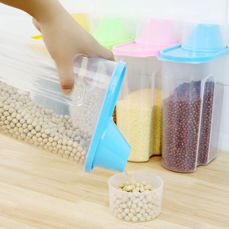 Image 4 - PP Food Storage Box Plastic Clear Container Set with Pour Lids Kitchen Storage Bottles Jars Dried Grains Tank 1.9L 2.5L H1211-in Storage Bottles & Jars from Home & Garden