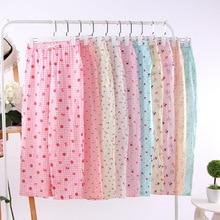 Comfortable Soft Cotton Gauze Pajama Pants Home Pants for Women Sleep Bottoms Cu