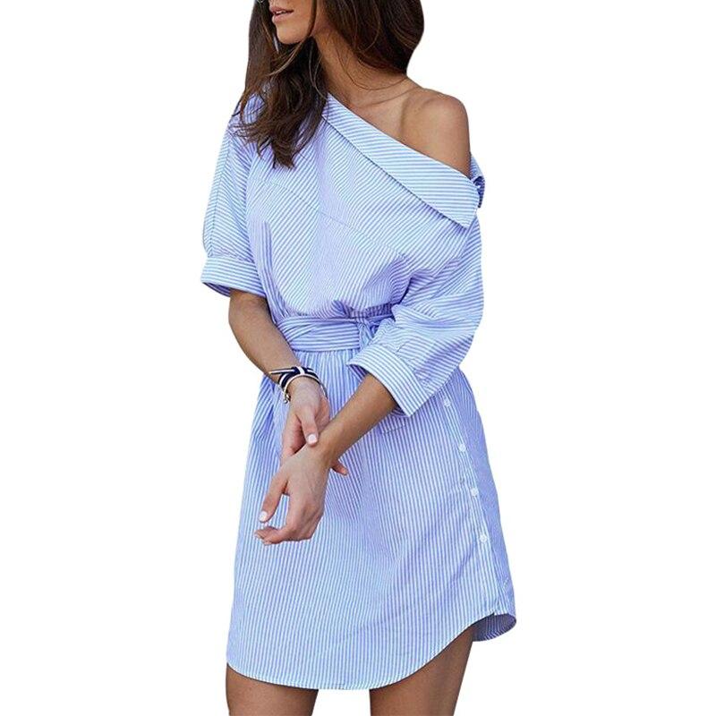 Women Fashion Casual Stripped Sloping Shoulder Half Sleeve Button Shirt Dress