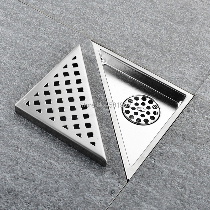 Triangle Wall Corner 304 Stainless Steel Floor Shower Drain Waste Grates Floor Drain 233mm*165mm 304 Stainless Steel Anti-odor free shipping hidden type triangle tile insert floor waste grates shower drain 232mm 117mm 304 stainless steel floor drain
