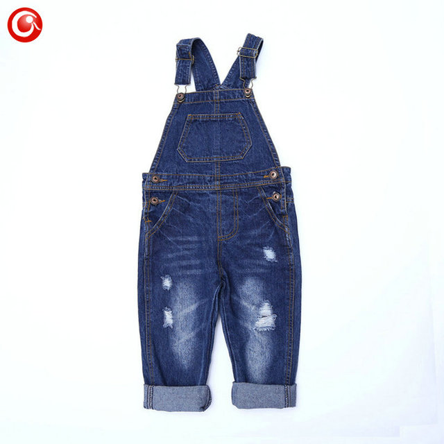 2016 Summer Ripped Jeans For Kids Child Boy Girls Jeans Overall Pants Toddler Baby Denim Bib Rip Pants