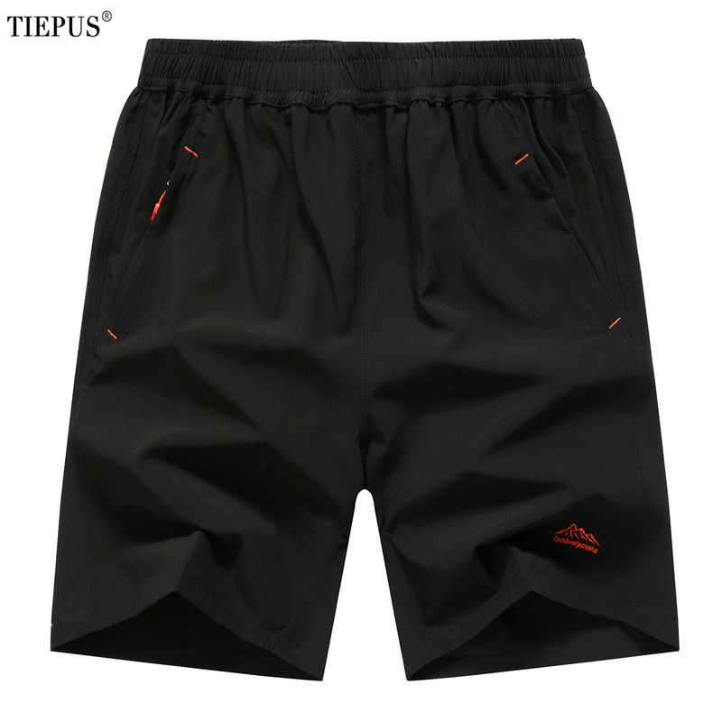 TIEPUS Plus Size 6XL,7XL,8XL,9XL Summer Solid Leisure Men Shorts Casual Quick-drying Short Trousers Loose Elastic Waist Short