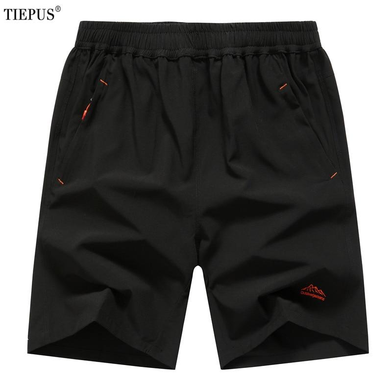 TIEPUS Plus Size 6XL,7XL,8XL,9XL Summer Solid Leisure Men Shorts Casual Quick-drying Short Trousers Loose Elastic Waist Short
