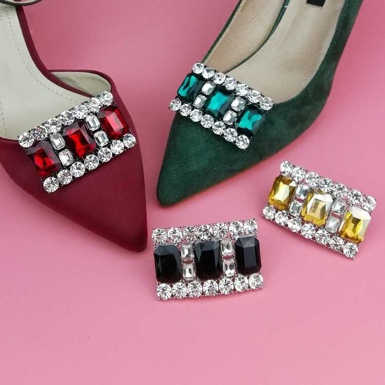 Removable women shoes clips shoes decorative 4 colours crystal rhinestones for women shoes