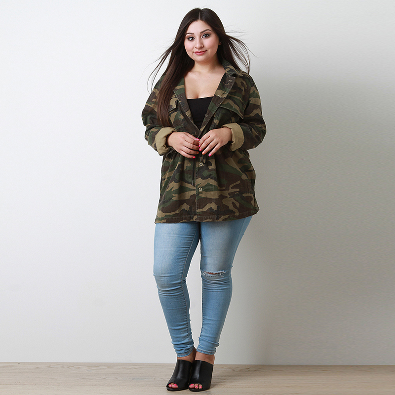 Kissmilk 2018 Plus Size Casual Camouflage Women Coats Large Size Drawstring Female Jackets Big Size Lady Loose Outwears 3XL-7XL