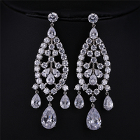 Charming Trendy Personality Luxury Cubic Zircon Bridal Earrings For Women Wedding Party Gold Plated From India