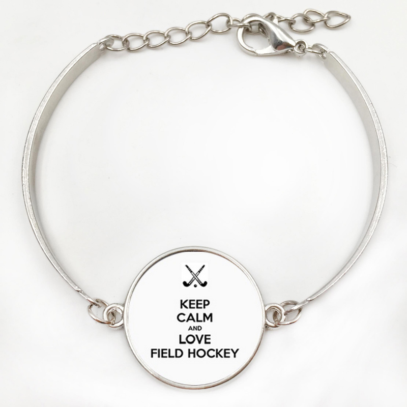 Brand Jewelry Keep Calm And Love Hockey Bracelet Gl Cabochon Dome Field Player Charms Jewellery Bracelets In Strand From