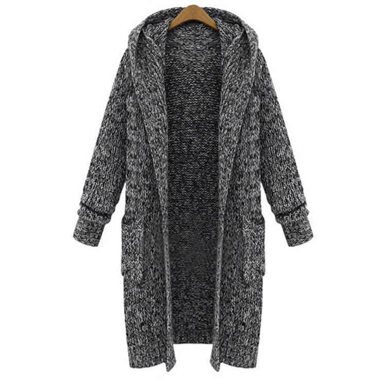 in Europe and the United States the new big yards long thickening knitting cardigan loose women hooded sweater coat