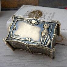 Caja de Metal Vintage de gato de Egipto para guardar joyas, caja de almacenamiento de regalo egipcio, decoración artesanal para el hogar, cofre organizador de ataúd