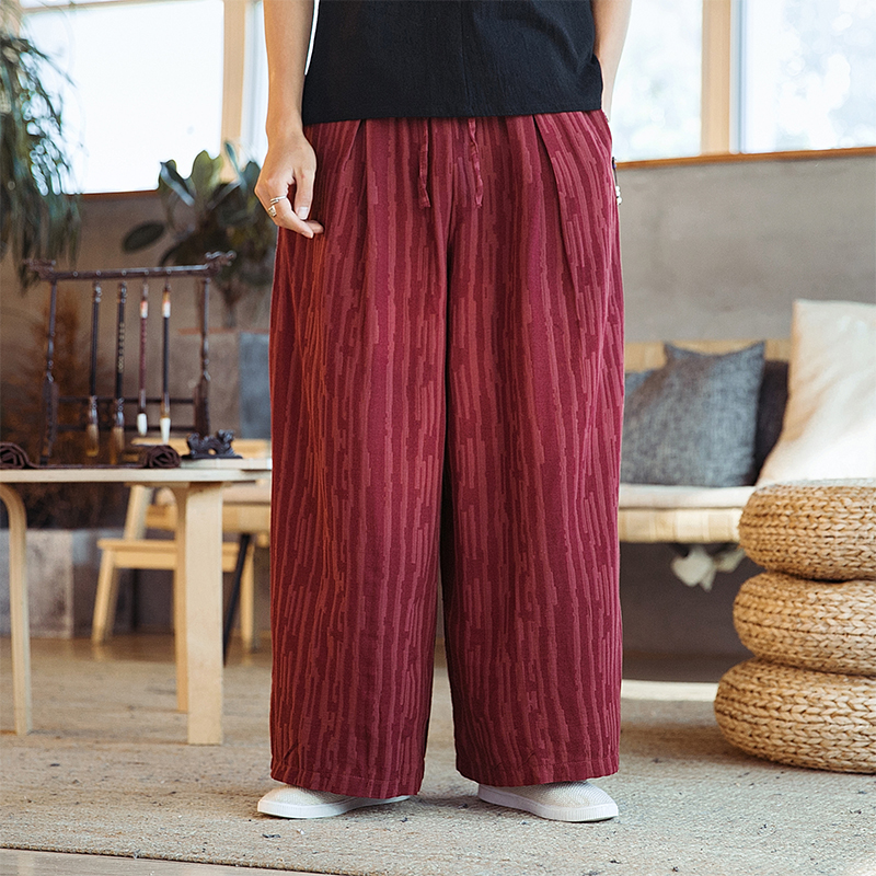 Male Streetwear Fashion Loose Harem Pant Men Black Red Wide Leg Casual Linen Pant Kimono Skirt Trousers