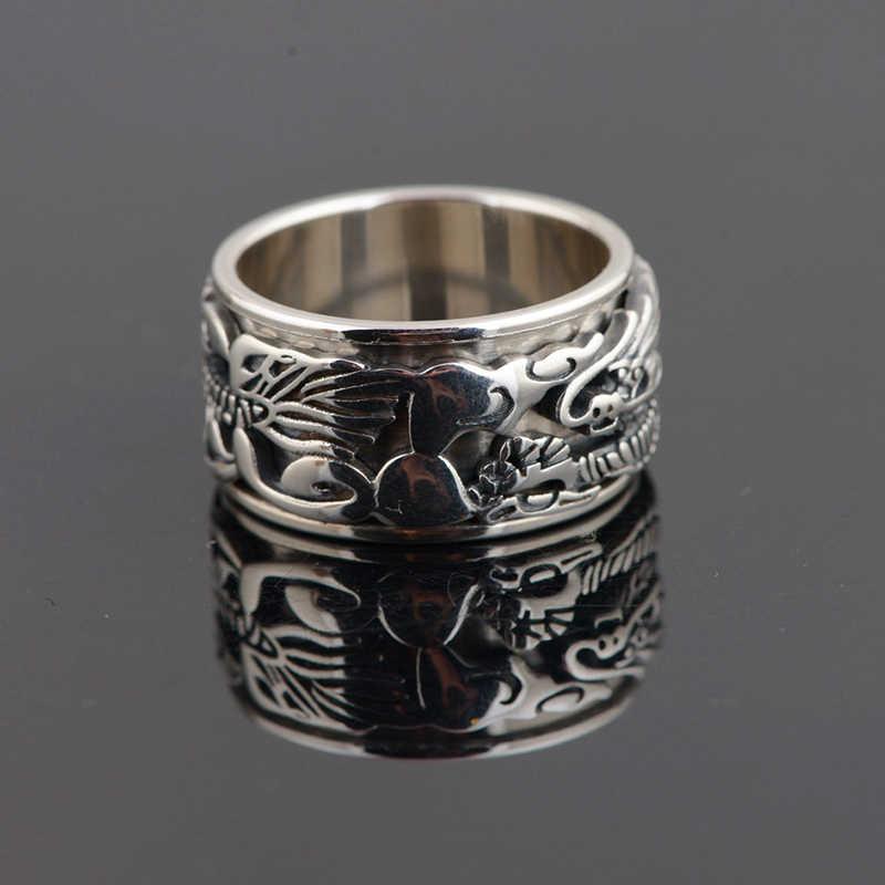 V. YA 925 Esterlina Anéis de Prata Antigo Dragão Chinês para Os Homens Do Vintage Jóias Étnicas Girado Anel Thai Jóias de Prata Para O Sexo Masculino