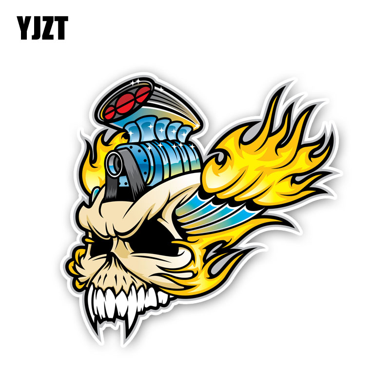 Yjzt 13cm*12.5cm Creative Fire Skull Head Motorcycle Helmet Decal Car Sticker Accessories 6-2433 Long Performance Life Exterior Accessories