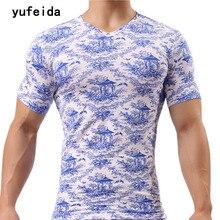 YUFEIDA New Arrival Short Sleeve T Shirt Men Summer Undershirt Leisure Home Print T-shirt Comfortable Slim Undershirt